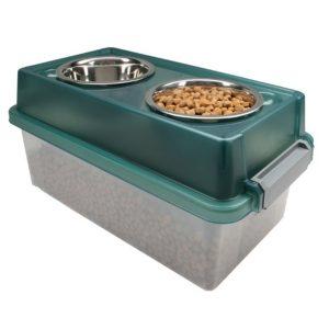 IRIS Pet Food Storage praktikus etető-itató tál beépített tárolóval
